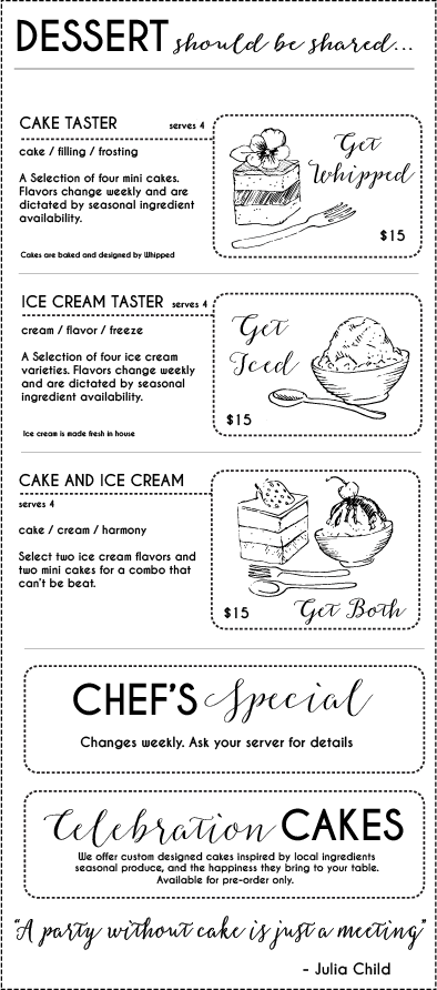 open range dessert menu