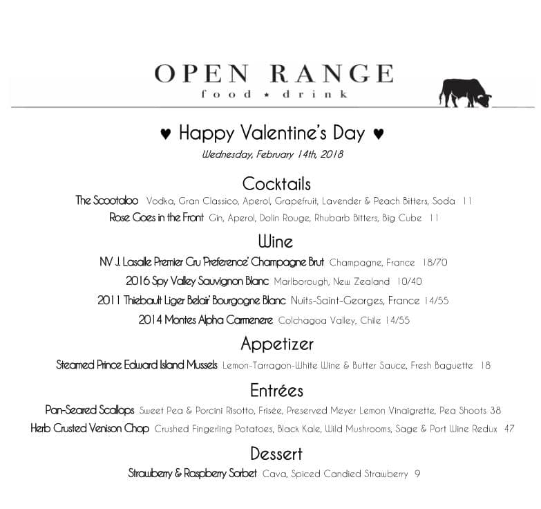 valentines day menu open range